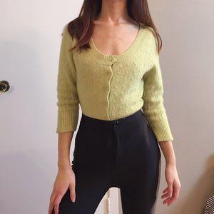 Light green 100% cashmere cardigan